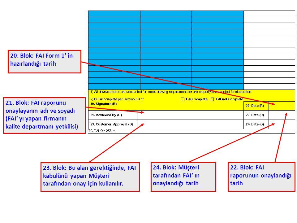 20. Blok: FAI Form 1' in hazırlandığı tarih 21. Blok: FAI raporunu onaylayanın adı ve soyadı (FAI' yı yapan firmanın kalite departmanı yetkilisi) 22.