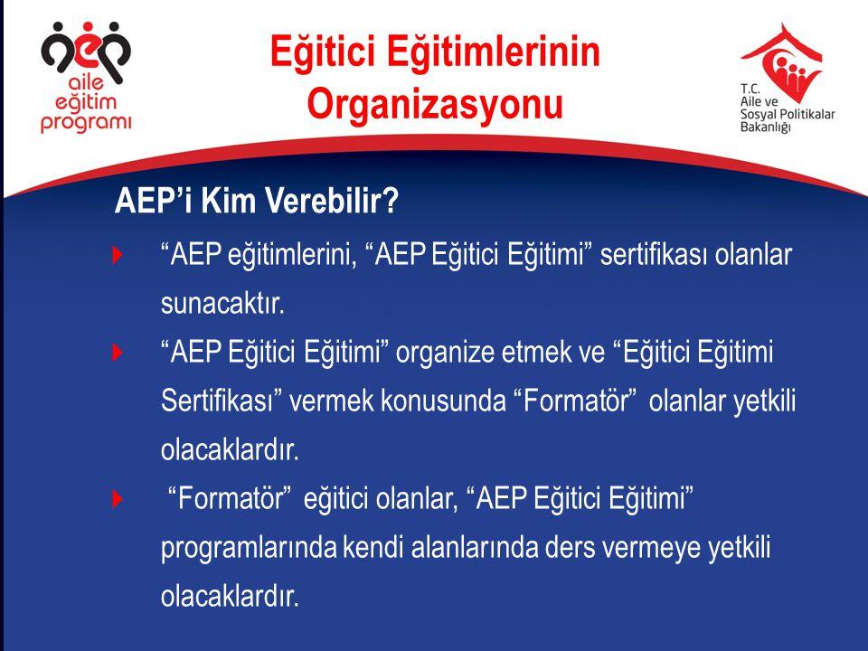 """AEP'i Kim Verebilir?  """"AEP eğitimlerini, """"AEP Eğitici Eğitimi"""" sertifikası olanlar sunacaktır.  """"AEP Eğitici Eğitimi"""" organize etmek ve """"Eğitici Eği"""