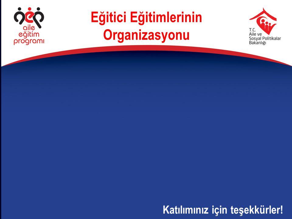 Eğitici Eğitimlerinin Organizasyonu Katılımınız için teşekkürler!