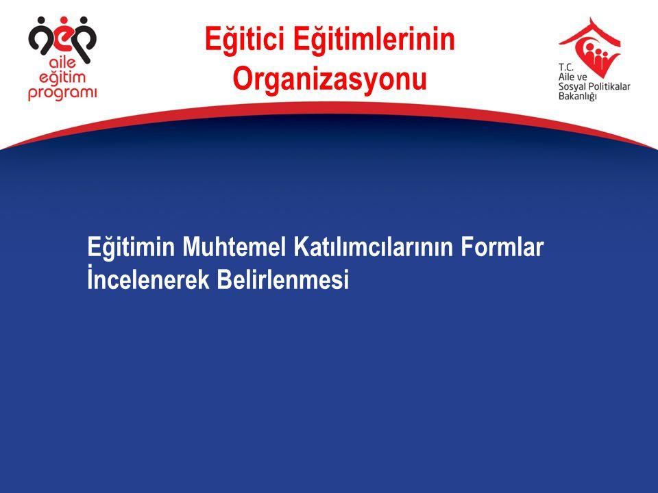 Eğitimin Muhtemel Katılımcılarının Formlar İncelenerek Belirlenmesi Eğitici Eğitimlerinin Organizasyonu