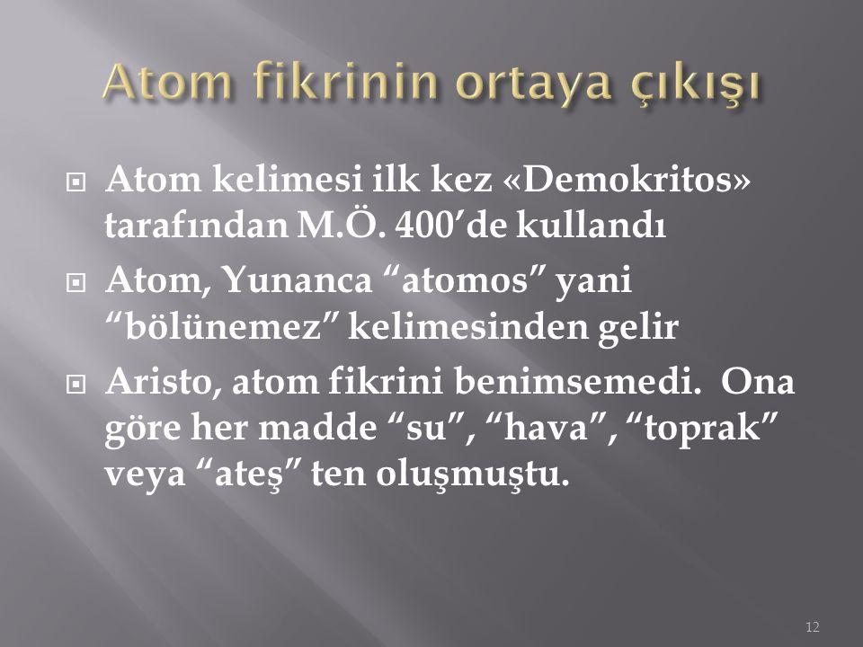 """ Atom kelimesi ilk kez «Demokritos» tarafından M.Ö. 400'de kullandı  Atom, Yunanca """"atomos"""" yani """"bölünemez"""" kelimesinden gelir  Aristo, atom fikri"""