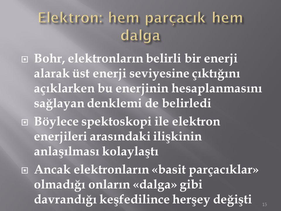  Bohr, elektronların belirli bir enerji alarak üst enerji seviyesine çıktığını açıklarken bu enerjinin hesaplanmasını sağlayan denklemi de belirledi