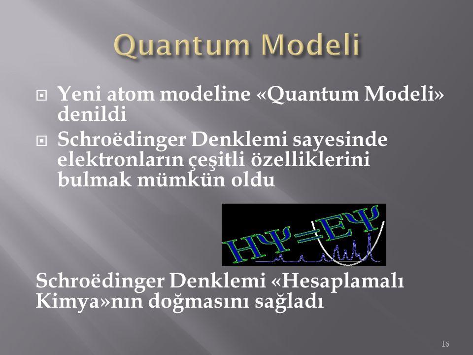  Yeni atom modeline «Quantum Modeli» denildi  Schroëdinger Denklemi sayesinde elektronların çeşitli özelliklerini bulmak mümkün oldu Schroëdinger De
