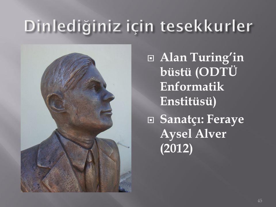  Alan Turing'in büstü (ODTÜ Enformatik Enstitüsü)  Sanatçı: Feraye Aysel Alver (2012) 45
