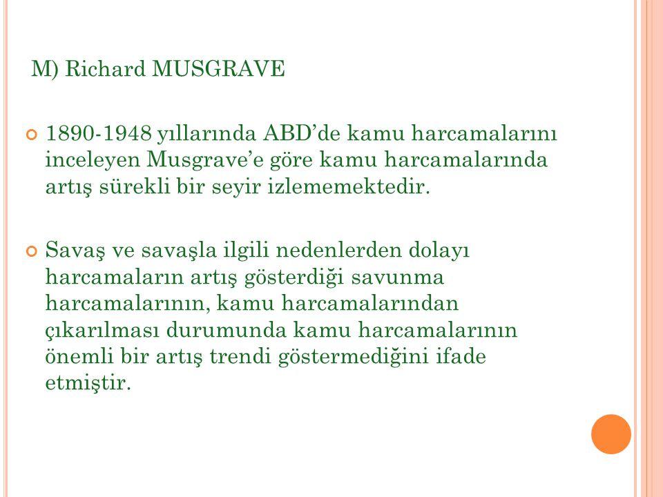 M) Richard MUSGRAVE 1890-1948 yıllarında ABD'de kamu harcamalarını inceleyen Musgrave'e göre kamu harcamalarında artış sürekli bir seyir izlememektedi
