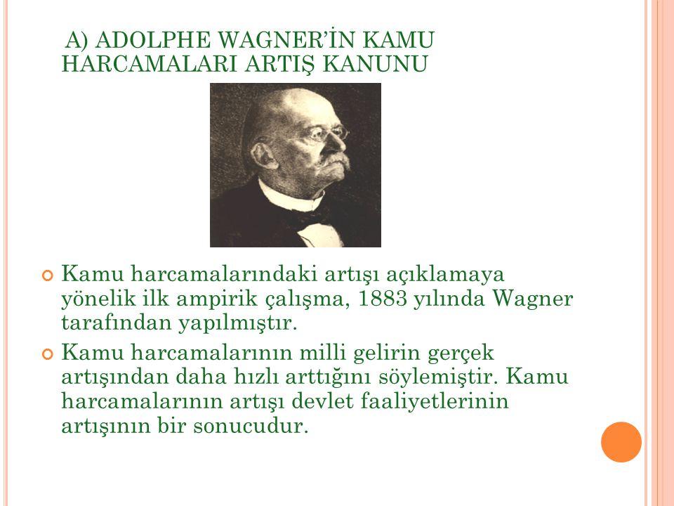 A) ADOLPHE WAGNER'İN KAMU HARCAMALARI ARTIŞ KANUNU Kamu harcamalarındaki artışı açıklamaya yönelik ilk ampirik çalışma, 1883 yılında Wagner tarafından