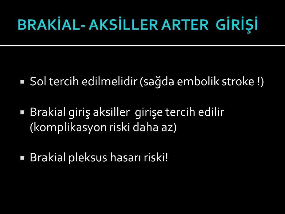  Sol tercih edilmelidir (sağda embolik stroke !)  Brakial giriş aksiller girişe tercih edilir (komplikasyon riski daha az)  Brakial pleksus hasarı