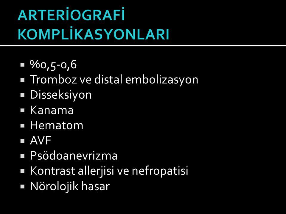  %0,5-0,6  Tromboz ve distal embolizasyon  Disseksiyon  Kanama  Hematom  AVF  Psödoanevrizma  Kontrast allerjisi ve nefropatisi  Nörolojik ha