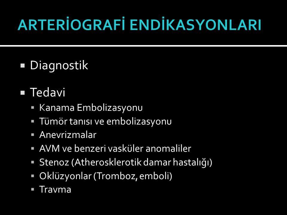  Diagnostik  Tedavi  Kanama Embolizasyonu  Tümör tanısı ve embolizasyonu  Anevrizmalar  AVM ve benzeri vasküler anomaliler  Stenoz (Atheroskler