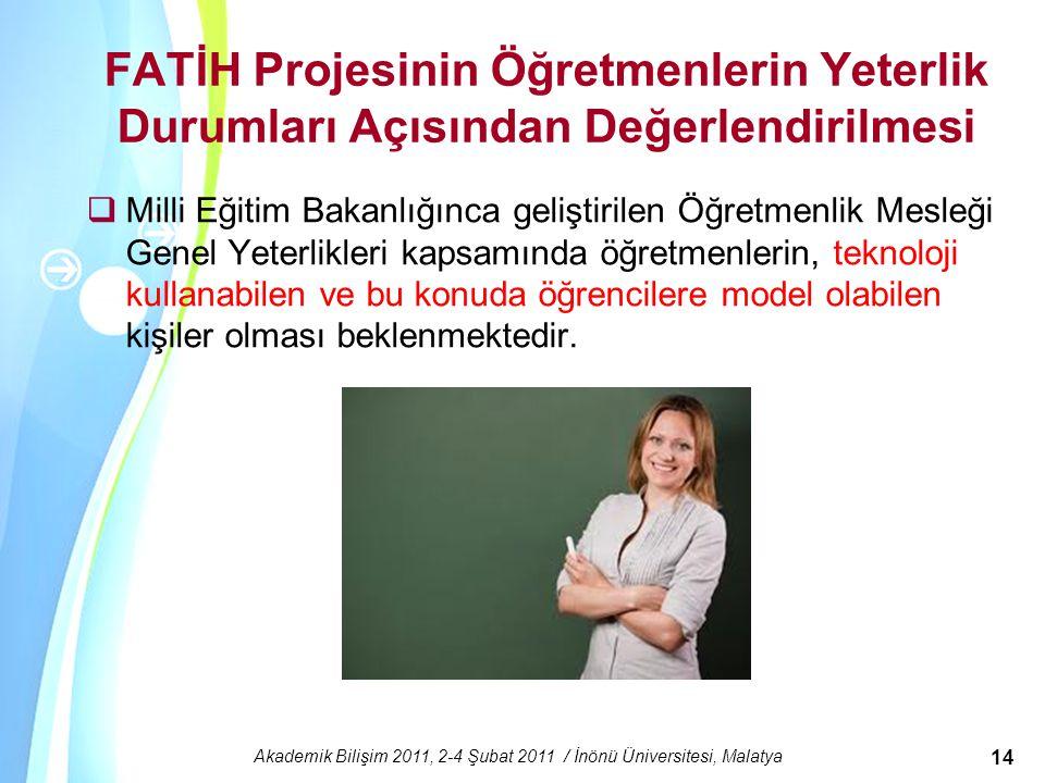 Powerpoint Templates Akademik Bilişim 2011, 2-4 Şubat 2011 / İnönü Üniversitesi, Malatya 14 FATİH Projesinin Öğretmenlerin Yeterlik Durumları Açısında