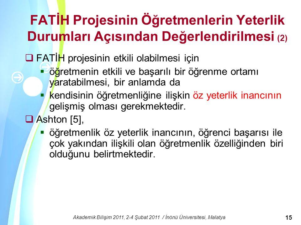 Powerpoint Templates Akademik Bilişim 2011, 2-4 Şubat 2011 / İnönü Üniversitesi, Malatya 15 FATİH Projesinin Öğretmenlerin Yeterlik Durumları Açısında