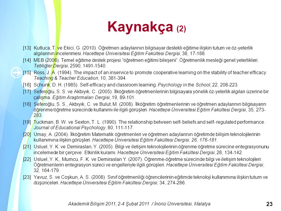 Powerpoint Templates Akademik Bilişim 2011, 2-4 Şubat 2011 / İnönü Üniversitesi, Malatya 23 Kaynakça (2) [13]Kutluca, T. ve Ekici, G. (2010). Öğretmen