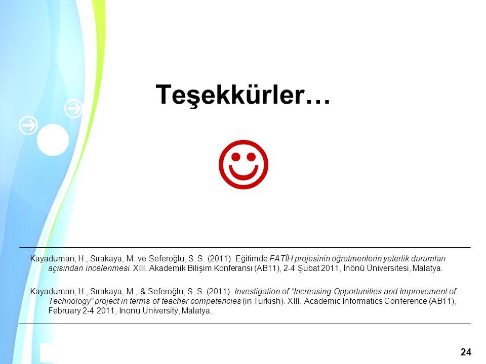 Powerpoint Templates Akademik Bilişim 2011, 2-4 Şubat 2011 / İnönü Üniversitesi, Malatya 24 Teşekkürler… Kayaduman, H., Sırakaya, M. ve Seferoğlu, S.