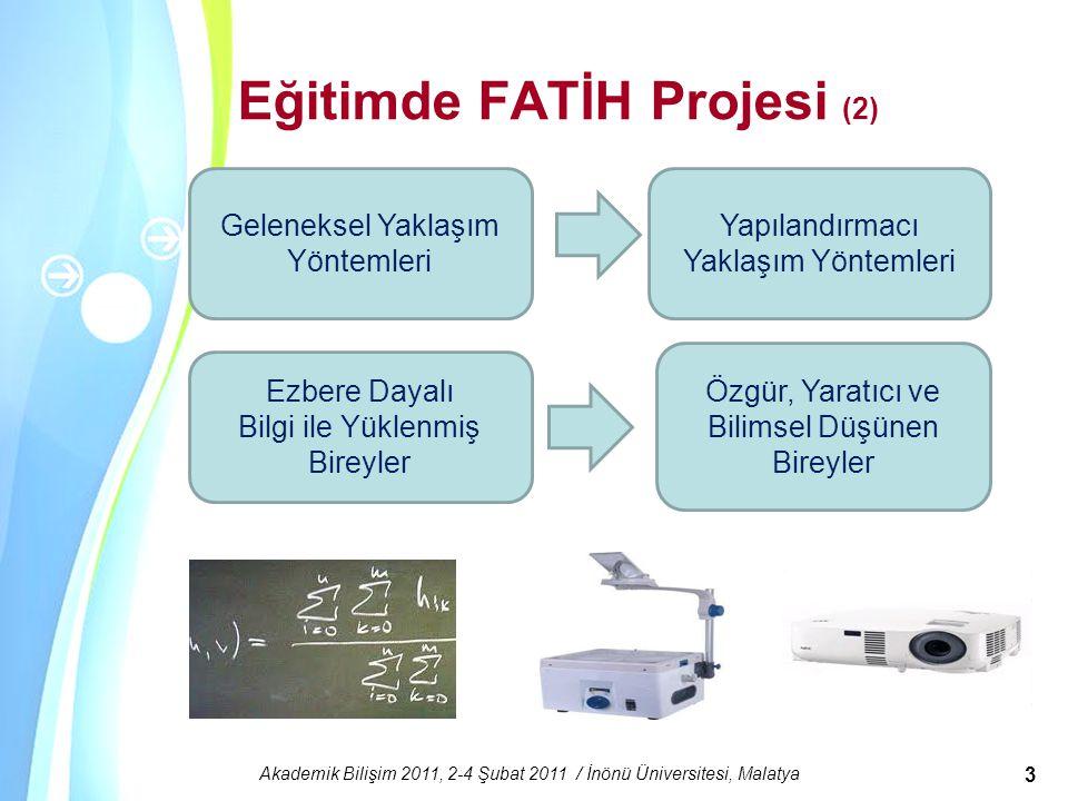 Powerpoint Templates Akademik Bilişim 2011, 2-4 Şubat 2011 / İnönü Üniversitesi, Malatya 3 Eğitimde FATİH Projesi (2) Ezbere Dayalı Bilgi ile Yüklenmi