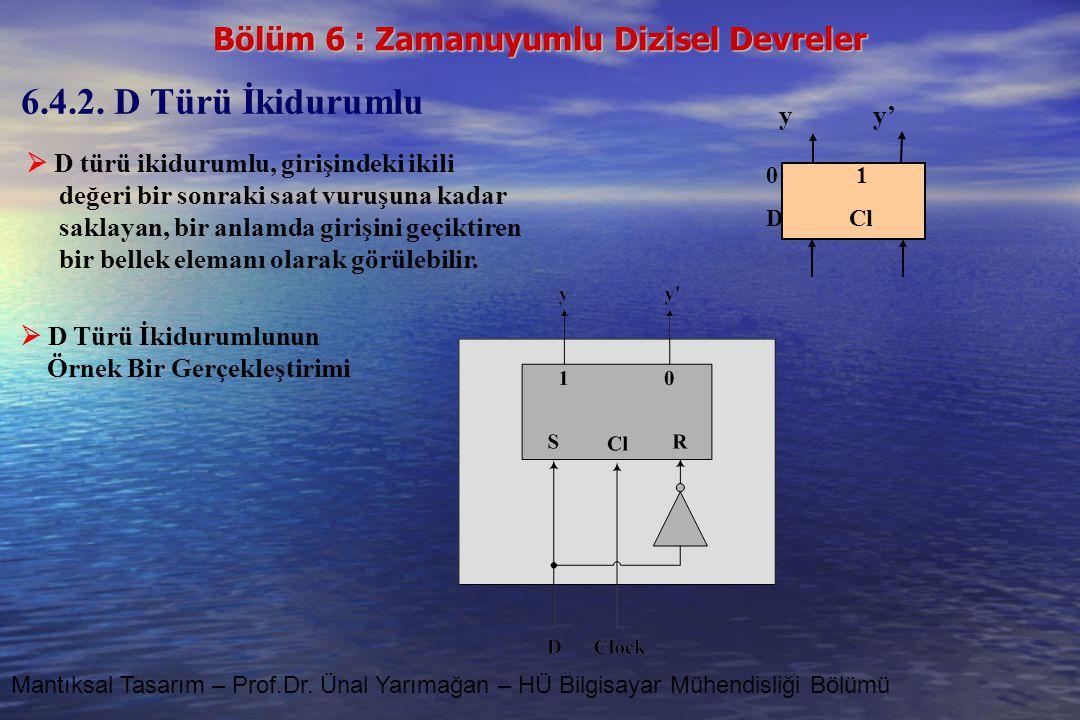Bölüm 6 : Zamanuyumlu Dizisel Devreler Mantıksal Tasarım – Prof.Dr. Ünal Yarımağan – HÜ Bilgisayar Mühendisliği Bölümü 6.4.2. D Türü İkidurumlu  D tü