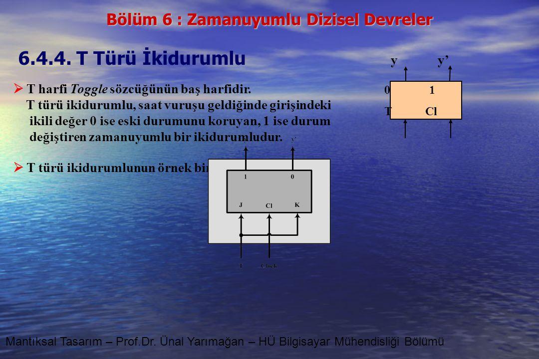 Bölüm 6 : Zamanuyumlu Dizisel Devreler Mantıksal Tasarım – Prof.Dr. Ünal Yarımağan – HÜ Bilgisayar Mühendisliği Bölümü 6.4.4. T Türü İkidurumlu  T ha