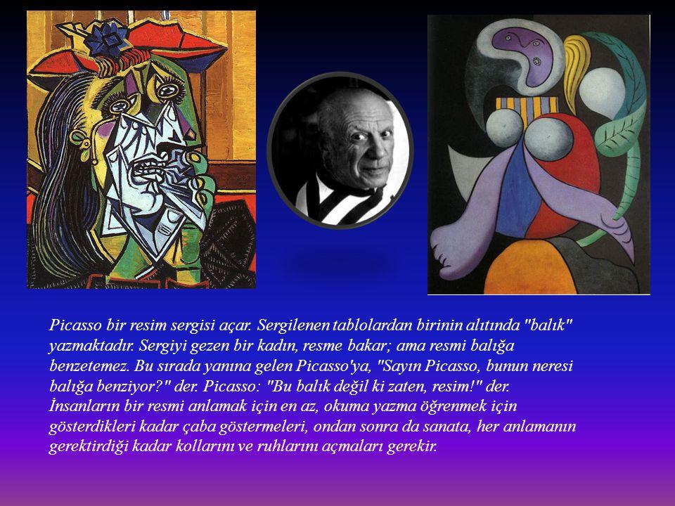 Picasso bir resim sergisi açar. Sergilenen tablolardan birinin alıtında