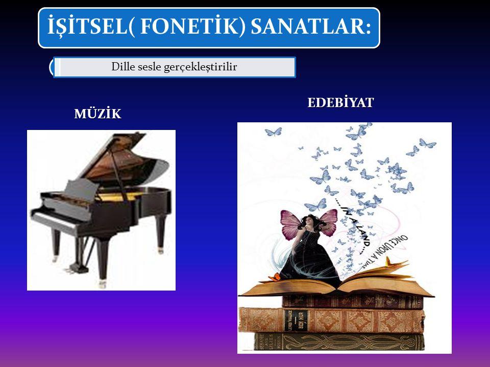 İŞİTSEL( FONETİK) SANATLAR: Dille sesle gerçekleştirilirMÜZİK EDEBİYAT