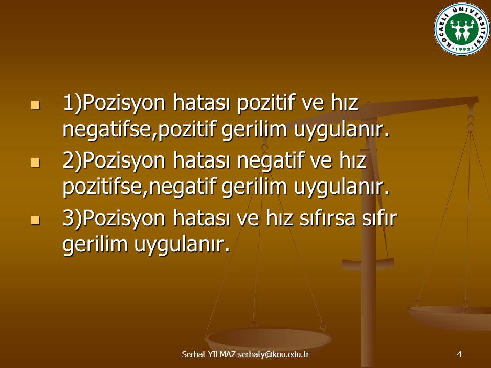 Serhat YILMAZ serhaty@kou.edu.tr4 1)Pozisyon hatası pozitif ve hız negatifse,pozitif gerilim uygulanır. 1)Pozisyon hatası pozitif ve hız negatifse,poz