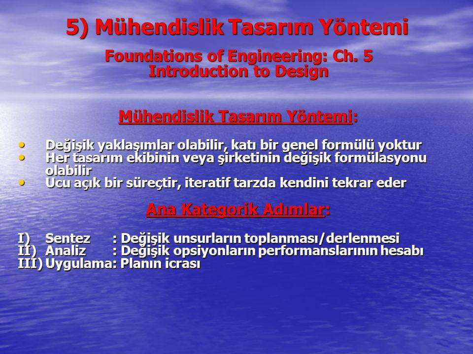 5) Mühendislik Tasarım Yöntemi Foundations of Engineering: Ch. 5 Introduction to Design Mühendislik Tasarım Yöntemi: Değişik yaklaşımlar olabilir, kat