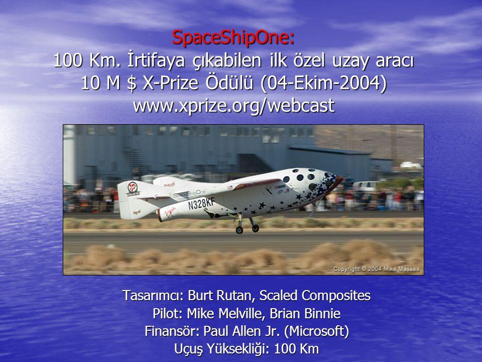 SpaceShipOne: 100 Km. İrtifaya çıkabilen ilk özel uzay aracı 10 M $ X-Prize Ödülü (04-Ekim-2004) www.xprize.org/webcast Tasarımcı: Burt Rutan, Scaled