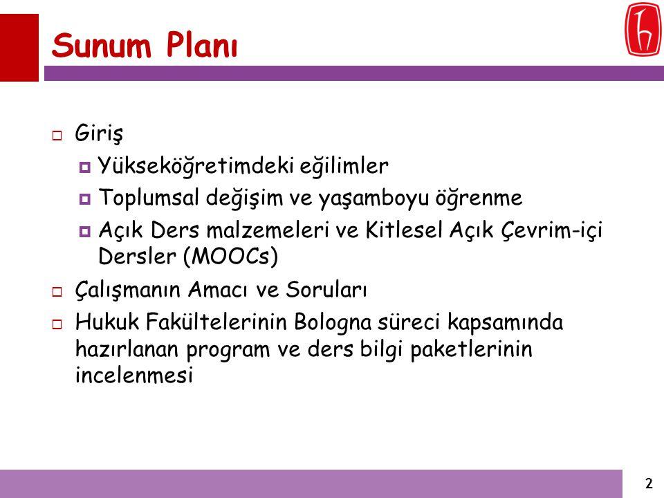 İncelenen Üniversiteler (ÖSYS Sırası)  Öğrenci Seçme ve Yerleştirme Sistemi Sonuçlarına göre en yüksek puanlı 5 Üniversite (Hukuk Fakültesi):  Galatasaray Üniversitesi,  Hacettepe Üniversitesi,  Gazi Üniversitesi,  Dokuz Eylül Üniversitesi ve  Uludağ Üniversitesi.
