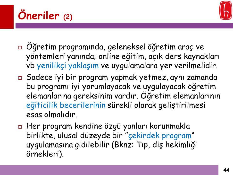 Öneriler (2)  Öğretim programında, geleneksel öğretim araç ve yöntemleri yanında; online eğitim, açık ders kaynakları vb yenilikçi yaklaşım ve uygula