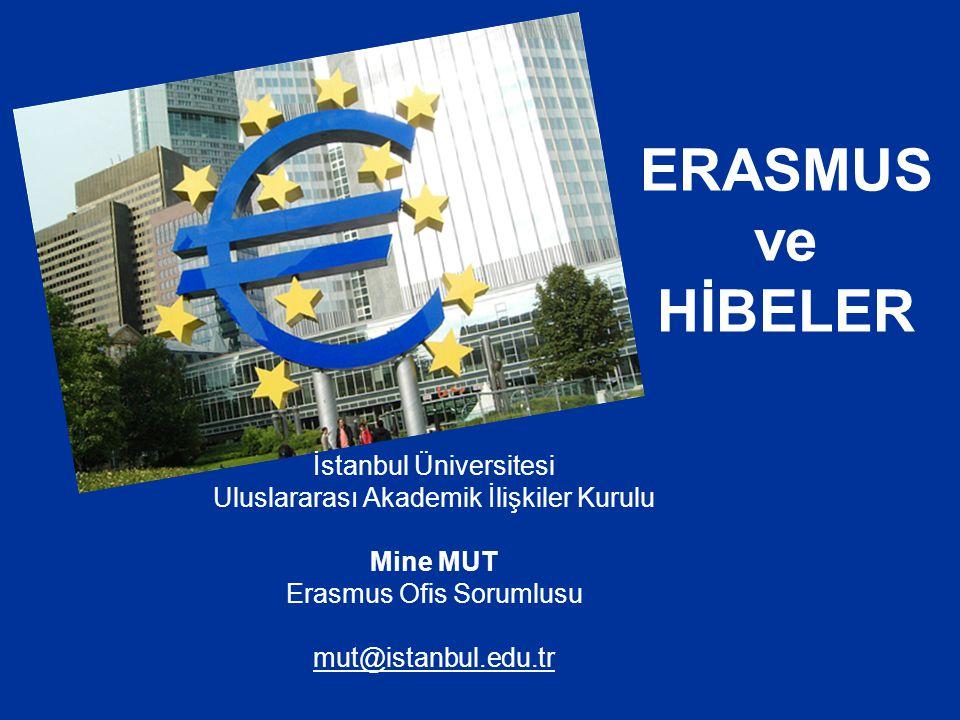 ERASMUS ve HİBELER İstanbul Üniversitesi Uluslararası Akademik İlişkiler Kurulu Mine MUT Erasmus Ofis Sorumlusu mut@istanbul.edu.tr