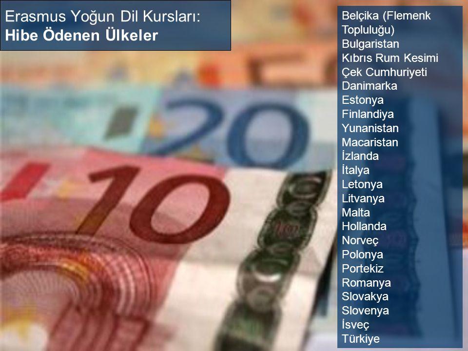 Erasmus Yoğun Dil Kursları: Hibe Ödenen Ülkeler Belçika (Flemenk Topluluğu) Bulgaristan Kıbrıs Rum Kesimi Çek Cumhuriyeti Danimarka Estonya Finlandiya Yunanistan Macaristan İzlanda İtalya Letonya Litvanya Malta Hollanda Norveç Polonya Portekiz Romanya Slovakya Slovenya İsveç Türkiye