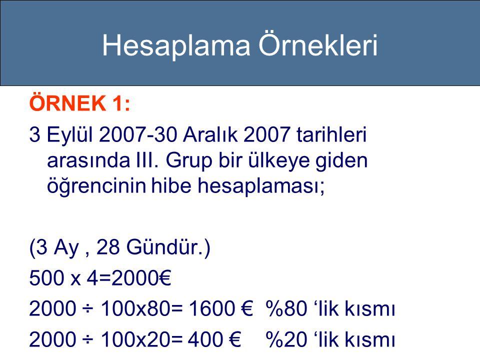 Hesaplama Örnekleri ÖRNEK 1: 3 Eylül 2007-30 Aralık 2007 tarihleri arasında III.