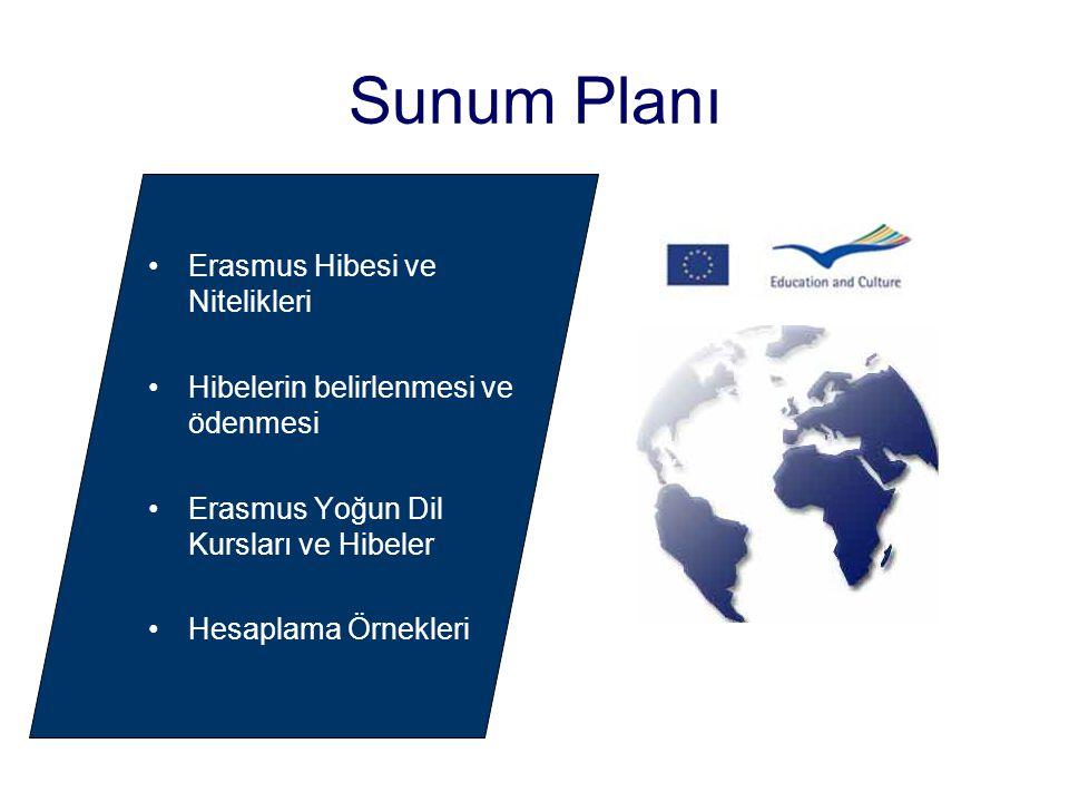 Sunum Planı Erasmus Hibesi ve Nitelikleri Hibelerin belirlenmesi ve ödenmesi Erasmus Yoğun Dil Kursları ve Hibeler Hesaplama Örnekleri