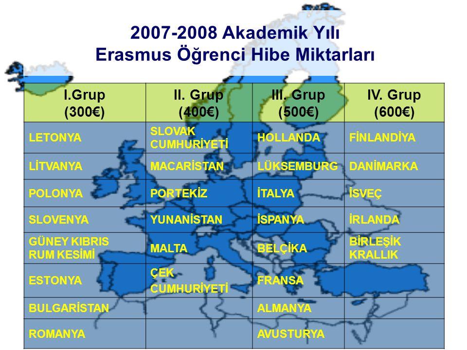 2007-2008 Akademik Yılı Erasmus Öğrenci Hibe Miktarları I.Grup (300€) II.