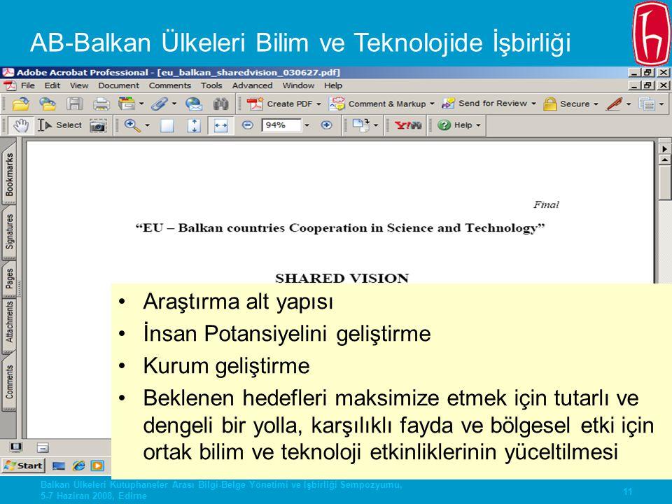 11 Balkan Ülkeleri Kütüphaneler Arası Bilgi-Belge Yönetimi ve İşbirliği Sempozyumu, 5-7 Haziran 2008, Edirne AB-Balkan Ülkeleri Bilim ve Teknolojide İ