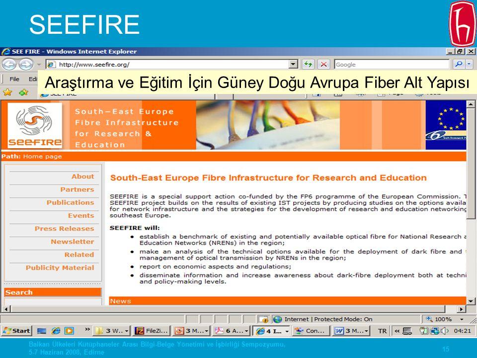15 Balkan Ülkeleri Kütüphaneler Arası Bilgi-Belge Yönetimi ve İşbirliği Sempozyumu, 5-7 Haziran 2008, Edirne SEEFIRE Araştırma ve Eğitim İçin Güney Do