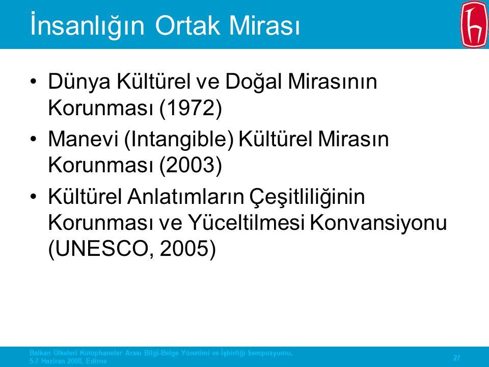 27 Balkan Ülkeleri Kütüphaneler Arası Bilgi-Belge Yönetimi ve İşbirliği Sempozyumu, 5-7 Haziran 2008, Edirne İnsanlığın Ortak Mirası Dünya Kültürel ve