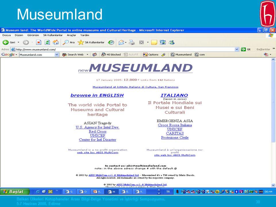 30 Balkan Ülkeleri Kütüphaneler Arası Bilgi-Belge Yönetimi ve İşbirliği Sempozyumu, 5-7 Haziran 2008, Edirne Museumland