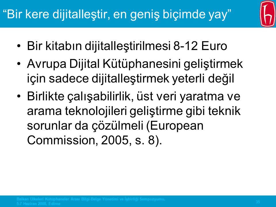 """35 Balkan Ülkeleri Kütüphaneler Arası Bilgi-Belge Yönetimi ve İşbirliği Sempozyumu, 5-7 Haziran 2008, Edirne """"Bir kere dijitalleştir, en geniş biçimde"""