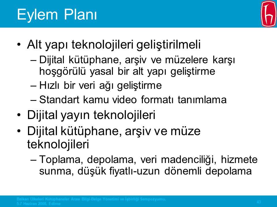 43 Balkan Ülkeleri Kütüphaneler Arası Bilgi-Belge Yönetimi ve İşbirliği Sempozyumu, 5-7 Haziran 2008, Edirne Eylem Planı Alt yapı teknolojileri gelişt