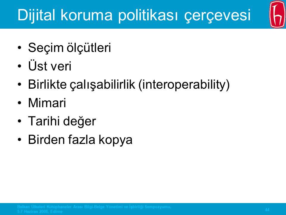 44 Balkan Ülkeleri Kütüphaneler Arası Bilgi-Belge Yönetimi ve İşbirliği Sempozyumu, 5-7 Haziran 2008, Edirne Dijital koruma politikası çerçevesi Seçim