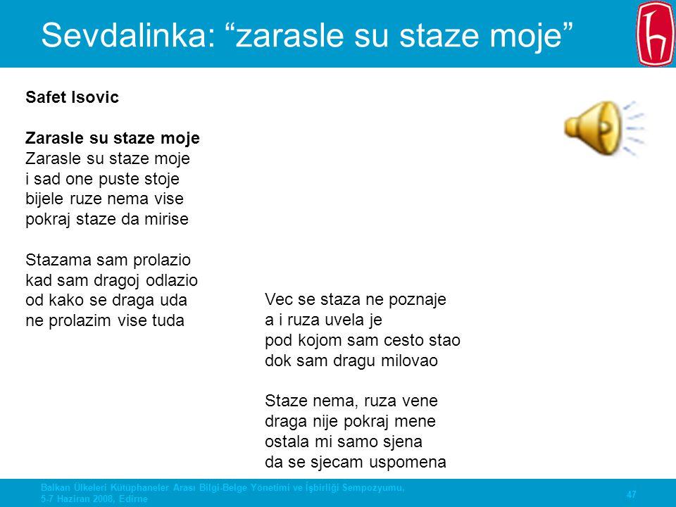 """47 Balkan Ülkeleri Kütüphaneler Arası Bilgi-Belge Yönetimi ve İşbirliği Sempozyumu, 5-7 Haziran 2008, Edirne Sevdalinka: """"zarasle su staze moje"""" Safet"""