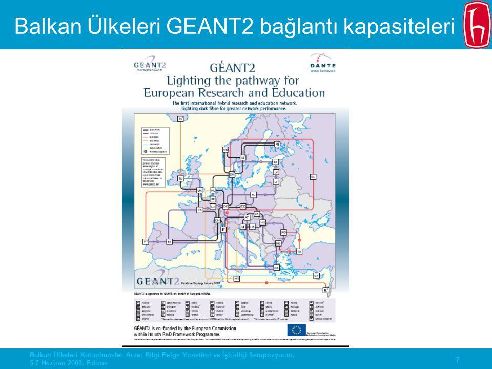 7 Balkan Ülkeleri Kütüphaneler Arası Bilgi-Belge Yönetimi ve İşbirliği Sempozyumu, 5-7 Haziran 2008, Edirne Balkan Ülkeleri GEANT2 bağlantı kapasitele