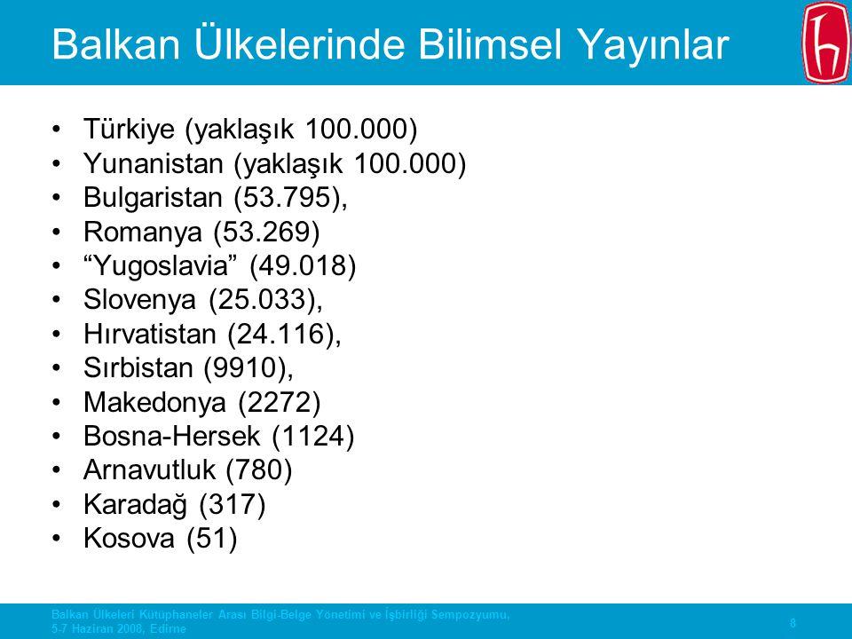 9 Balkan Ülkeleri Kütüphaneler Arası Bilgi-Belge Yönetimi ve İşbirliği Sempozyumu, 5-7 Haziran 2008, Edirne Ortak Yayın Sayıları Türkiye-Yunanistan: 428 Türkiye-Romanya: 267 Türkiye-Bulgaristan: 214 Tüm yayınların binde 2'si-binde 4ü Yunanistan-Bulgaristan: 671 Yunanistan-Romanya: 482 Bulgaristan-Romanya: 526
