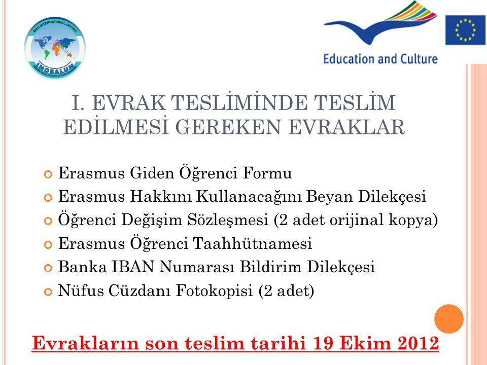Erasmus Giden Öğrenci Formu Erasmus Hakkını Kullanacağını Beyan Dilekçesi Öğrenci Değişim Sözleşmesi (2 adet orijinal kopya) Erasmus Öğrenci Taahhütna