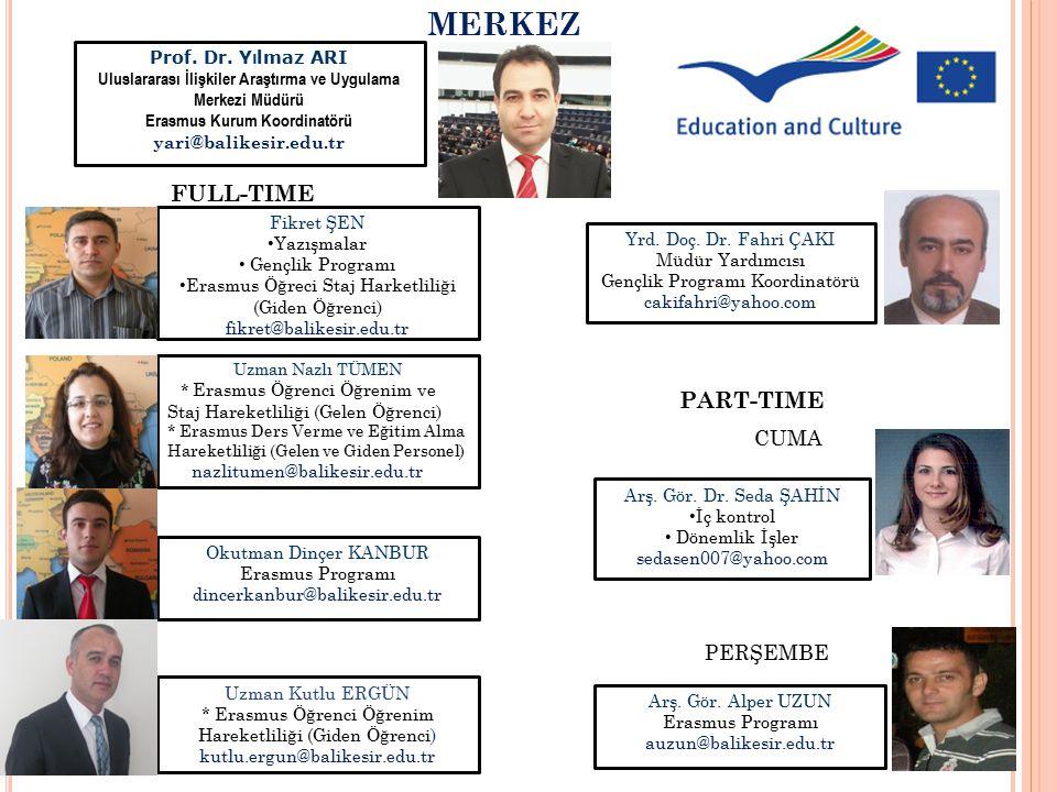 Prof. Dr. Y ı lmaz ARI Uluslararası İlişkiler Araştırma ve Uygulama Merkezi Müdürü Erasmus Kurum Koordinatörü yari@balikesir.edu.tr Yrd. Doç. Dr. Fahr