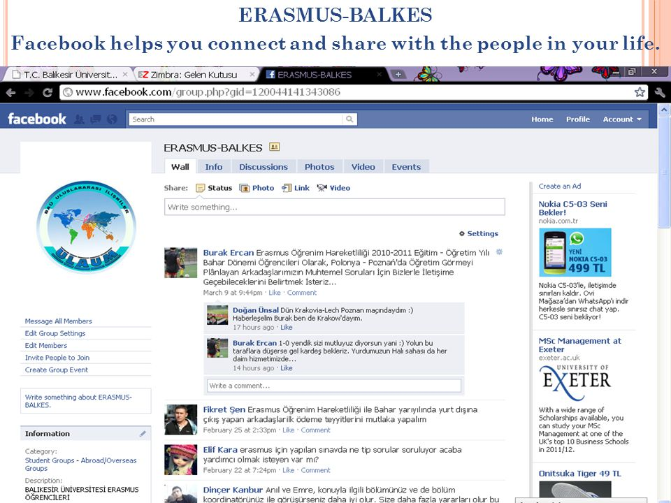 ERASMUS-BALKES Facebook helps you connect and share with the people in your life.