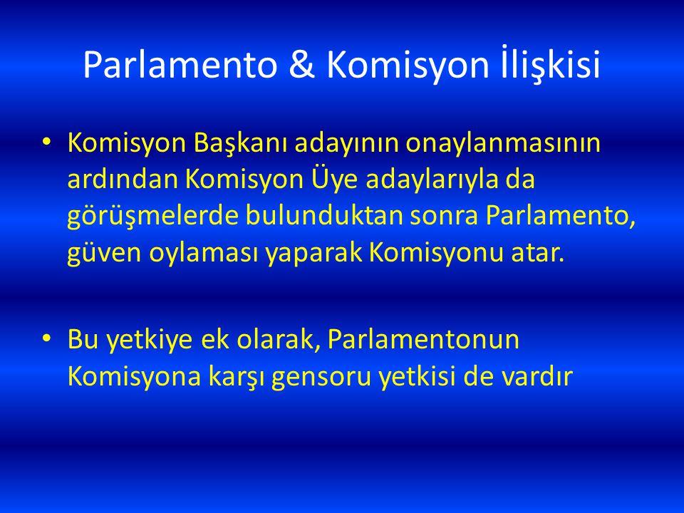 Parlamento & Komisyon İlişkisi Komisyon Başkanı adayının onaylanmasının ardından Komisyon Üye adaylarıyla da görüşmelerde bulunduktan sonra Parlamento