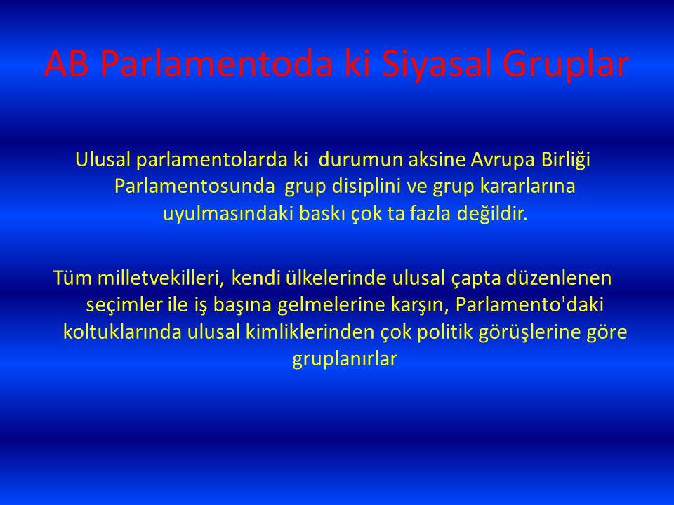 AB Parlamentoda ki Siyasal Gruplar Ulusal parlamentolarda ki durumun aksine Avrupa Birliği Parlamentosunda grup disiplini ve grup kararlarına uyulması