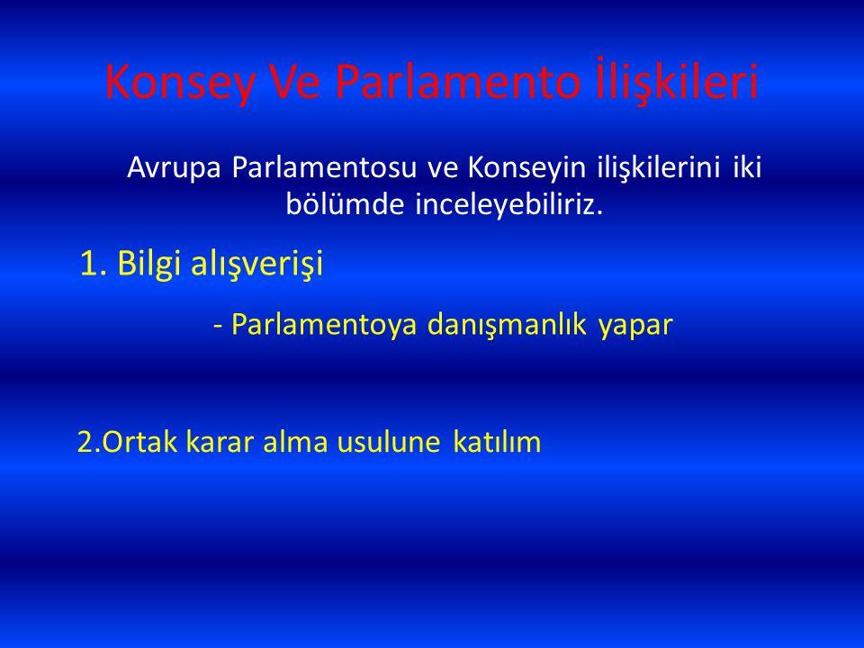 Konsey Ve Parlamento İlişkileri 1. Bilgi alışverişi - Parlamentoya danışmanlık yapar 2.Ortak karar alma usulune katılım Avrupa Parlamentosu ve Konseyi