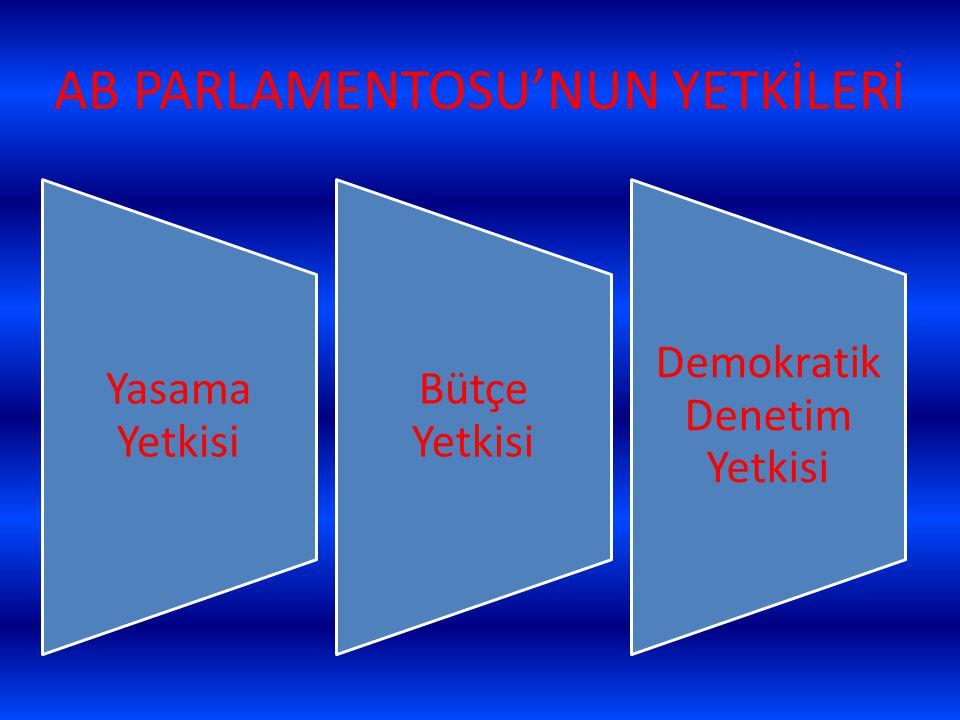 AB PARLAMENTOSU'NUN YETKİLERİ Yasama Yetkisi Bütçe Yetkisi Demokratik Denetim Yetkisi