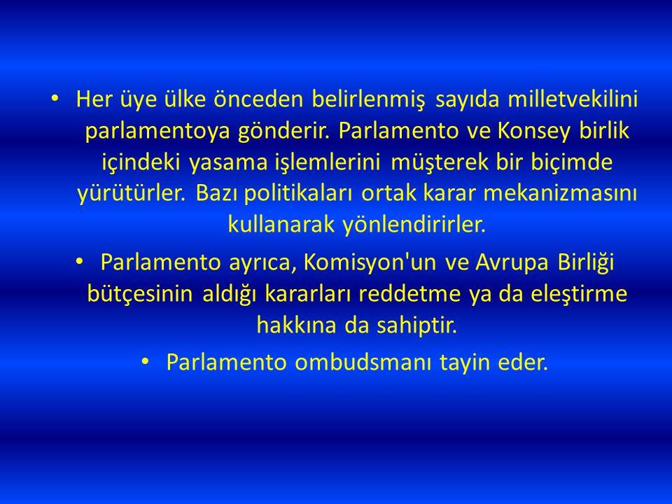Her üye ülke önceden belirlenmiş sayıda milletvekilini parlamentoya gönderir. Parlamento ve Konsey birlik içindeki yasama işlemlerini müşterek bir biç